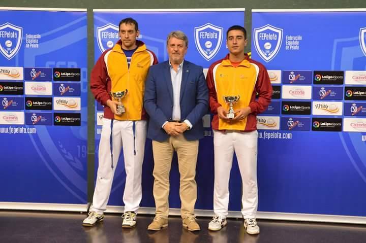 Carlos Baeza e Imanol Ibáñez, del Club Puertas Bamar de Valladolid, en el Mundial de Pelota