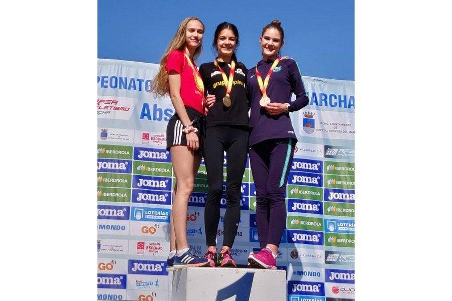 Marina Peña, oro en 20Km marcha sub23 y Daniel González y David Requejo, oro en 60m sub16