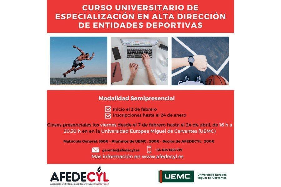Abierto el plazo para inscribirse en el curso universitario de especialización en Alta Dirección de Entidades Deportivas