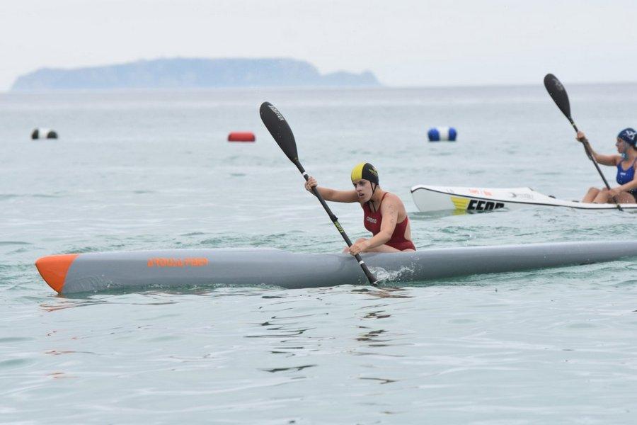 La zamorana Sara Iglesias en la concentración nacional de pruebas de playa en Barrica (Vizcaya)
