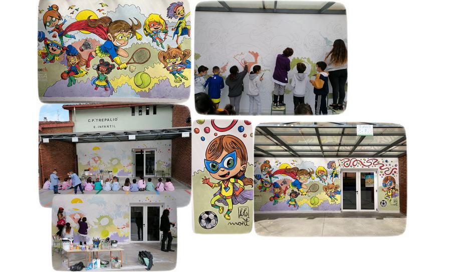El CEIP Trepalio ya tiene su mural de Superheroínas para visibilizar la Igualdad a través del deporte